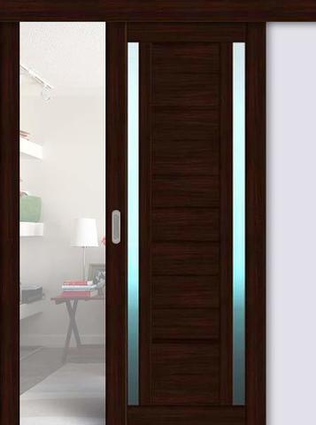 Дверь раздвижная La Stella 203, стекло матовое, цвет дуб мокко, остекленная
