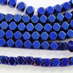 Бусина Гематит немагнитный (искусств, Категория A), многогранник, цвет - синий с бензиновым отливом, 4х4 мм, нить