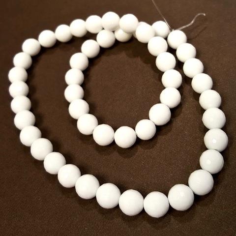 Бусины агат белый А глянцевый шар граненый 8 мм