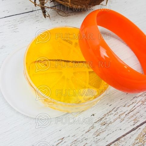 Слайм лизун фрукт антистресс с блестками Апельсин оранжевый