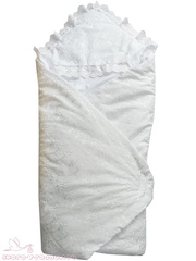 Папитто. Конверт-одеяло кружевной на липучке, синтепон 100, белый