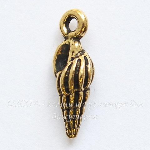 """Подвеска TierraCast """"Ракушка"""" маленькая (цвет-античное золото) 15х5 мм"""
