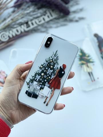 Чехол силиконовый прозрачный iPhone XS Max /santa girl/