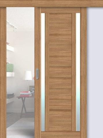 Дверь раздвижная La Stella 203, стекло матовое, цвет дуб сантьяго, остекленная