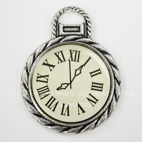 "Подвеска ""Часики"" (цвет - античное серебро) 35х27 мм"