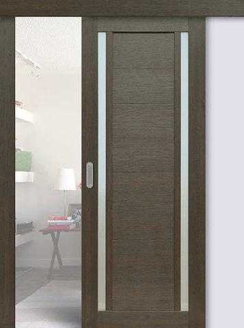 Дверь раздвижная La Stella 203, стекло матовое, цвет ясень грей, остекленная