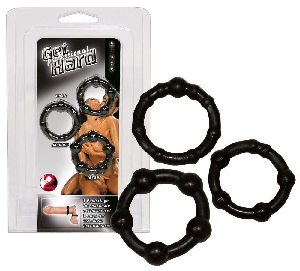 Эрекционные кольца: Набор из трех черных эрекционных колец с бусинами