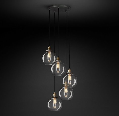 20th C. Factory Filament Clear Glass Café Round Pendant