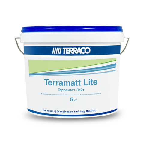 Terraco Terramatt Lite/Террако Терраматт Лайт акриловая краска бюджетного уровня для внутренних стен