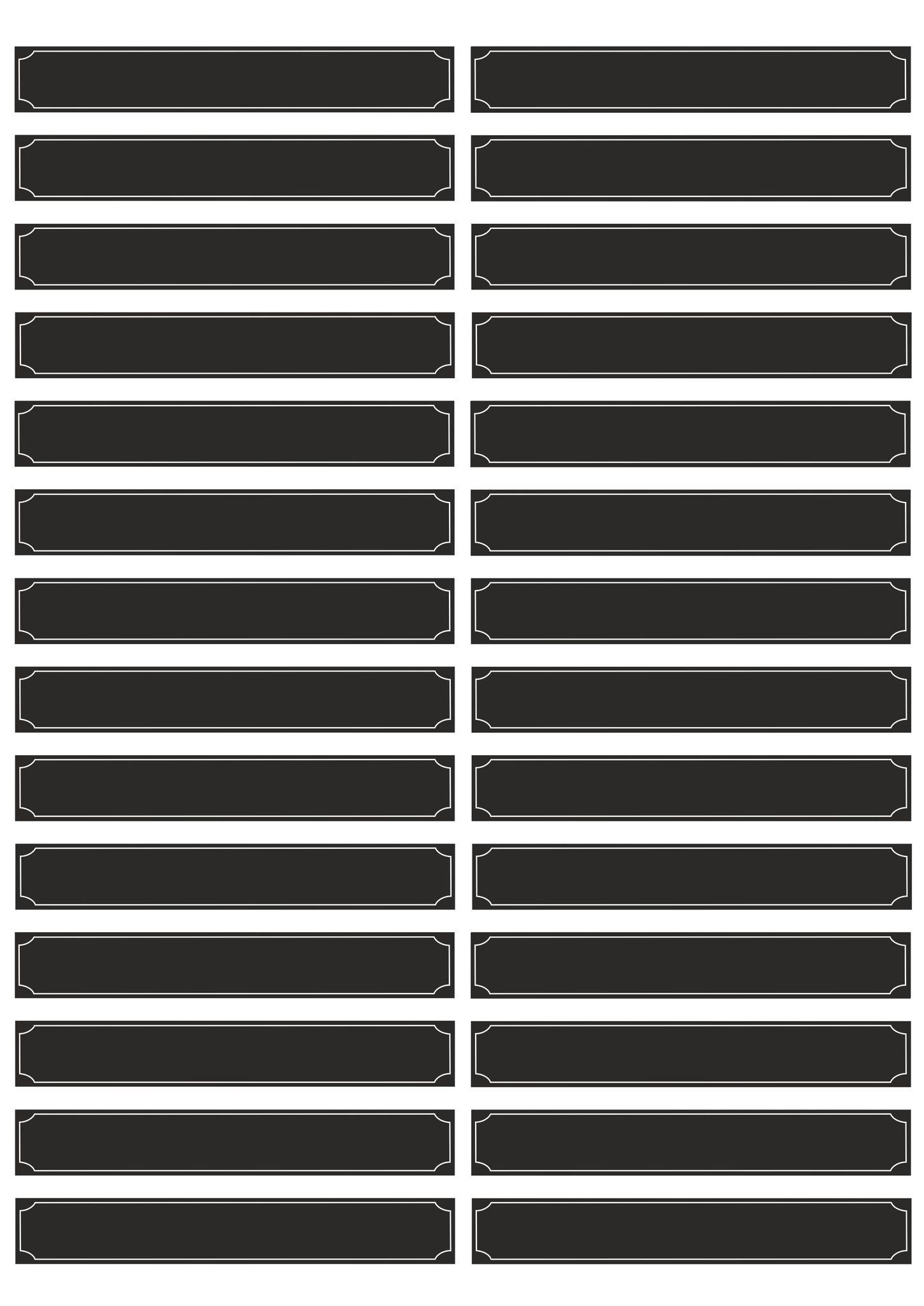 Набор наклеек 10*2 для полок, папок, книг, черный (2 листа)