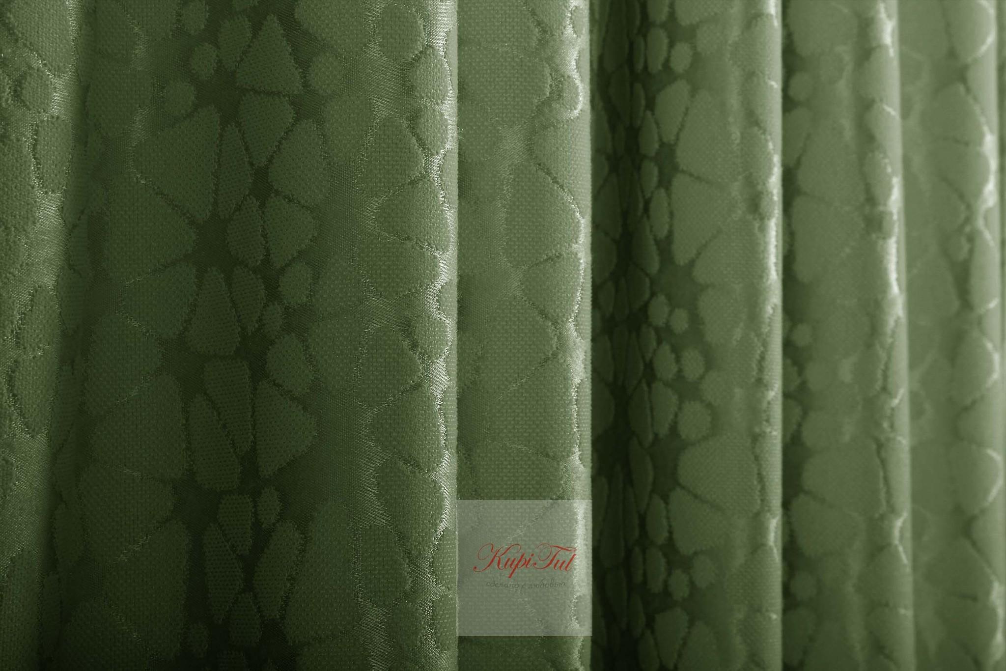 Длинные шторы. Лоран (темно-зелёный). Шторы из стриженного бархата.