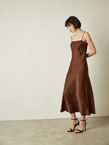 Платье-комбинация коричневый