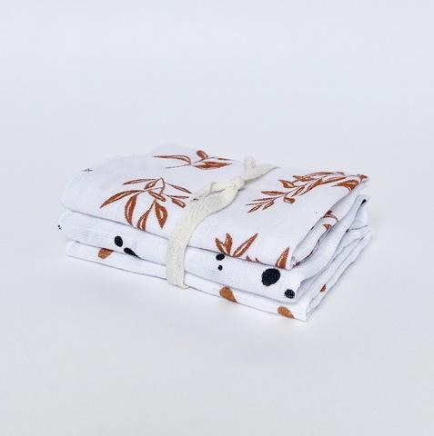 Сет из 3х муслиновых салфеток Mjölk Листья