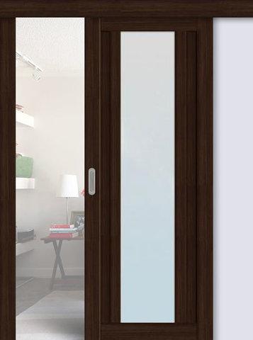 Дверь раздвижная La Stella 205, стекло матовое, цвет дуб мокко, остекленная