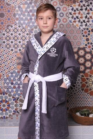 Football антрацит махровый халат для мальчика  с капюшоном Five Wien Турция