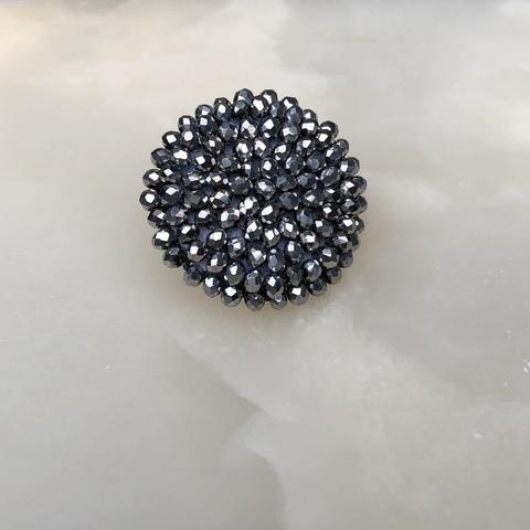 Моносерьга - клипса круглая серого цвета, мини