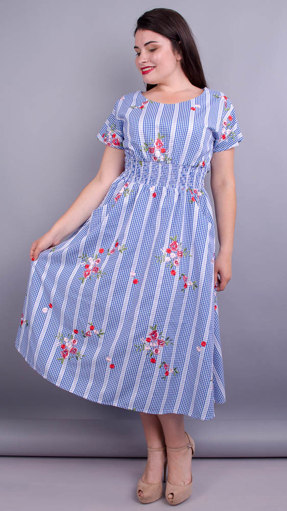 Віночок. Стильна сукня великих розмірів. Клітинка дрібна.