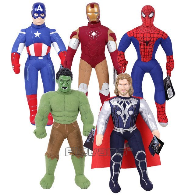Набор супергероев Марвел, 5 шт  25 см: Тор, Капитан Америка, Человек Паук, Железный Человек, Халк