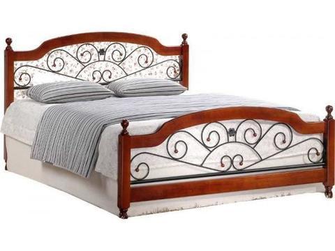 Кровать GUL-809/AT-9156 двуспальная металлическая 160х200 темный орех