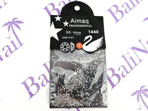 Стразы Aimaq PROFESSIONAL (белые) ss3, 1440 шт с подложкой