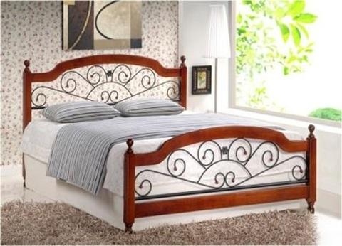 Кровать GUL-809/AT-9156 двуспальная металлическая с деревянными ножками 180х200 темный орех