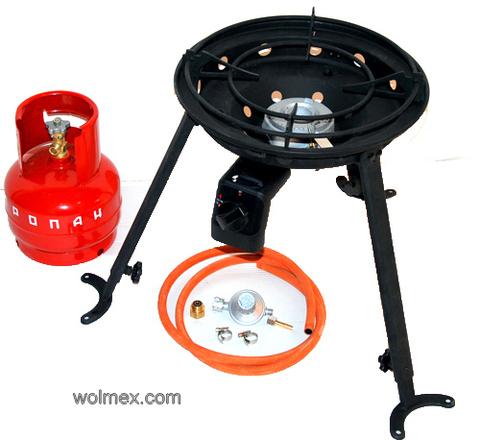 Комплект 40. Горелка газовая для вока Wolmex C4201D с металлическим баллоном и редуктором EN61 - Shell