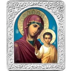 Казанская икона Божьей Матери. Маленькая икона в серебряной раме.