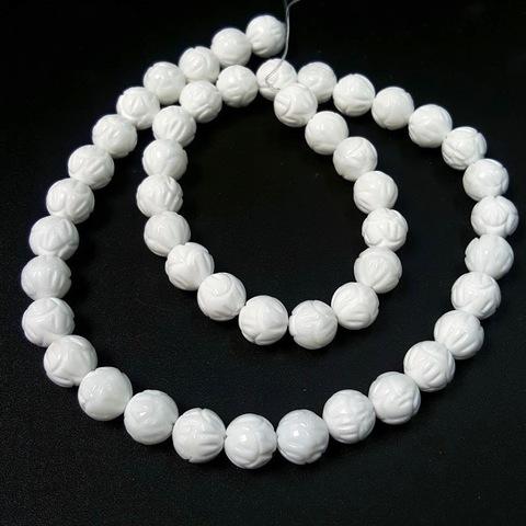 Бусины агат белый шар  8 мм фигурная огранка Лотос 24 бусины