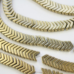 Бусина Гематит (искусств), шеврон, цвет - золотисто-бронзовый, 6х4х3 мм, нить