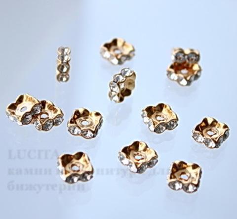 77608 Бусина - рондель Сваровски Crystal (цвет - античное золото) 8х3 мм