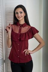 Лея. Современная стильная молодежная рубашка. Бордо