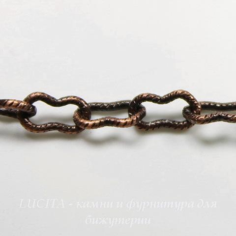 """Винтажная цепь """"Peanut"""" (звено 7,5х4 мм) (оксид меди), 10 см"""