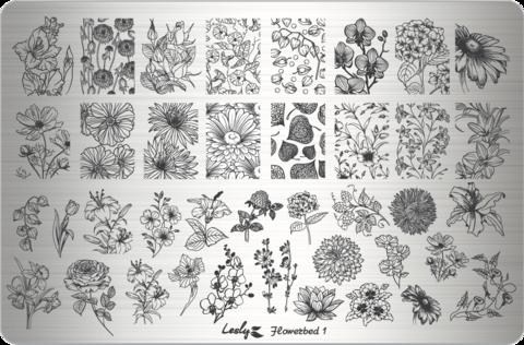 LESLY Пластина для стемпинга Flowerbed 1