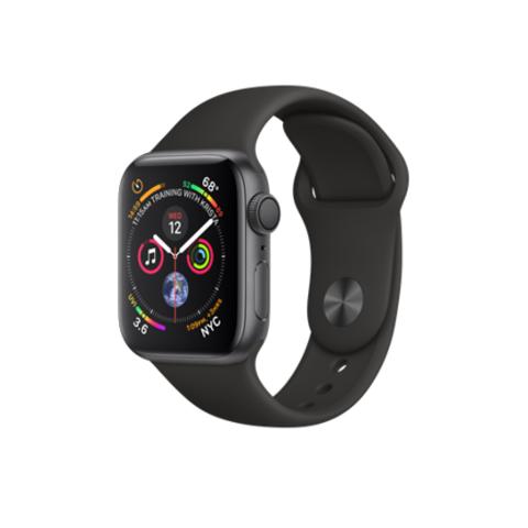 Apple Watch Series 4 GPS, 40mm, корпус из алюминия цвета «серый космос», спортивный ремешок черного цвета