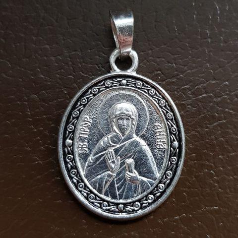 Нательная именная икона святая Анна с серебрением кулон с молитвой