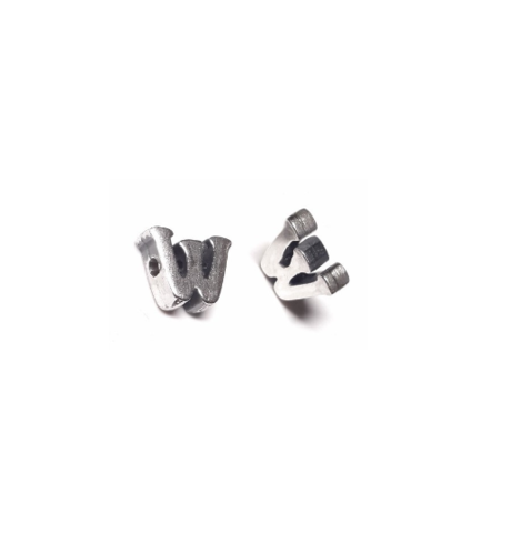 Alphabet letter W, sterling silver