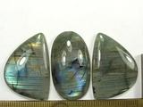 Комплект кабошонов лабрадора (спектролита) 31x22x4 мм - 2 шт., 32x18x6 мм - 1 шт.