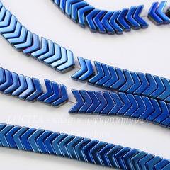Бусина Гематит (искусств), шеврон, цвет - синий с бензиновым отливом, 6х4х3 мм, нить
