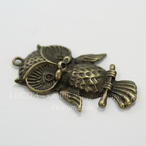"Подвеска ""Сова"" (цвет - античная бронза) 43х27 мм"