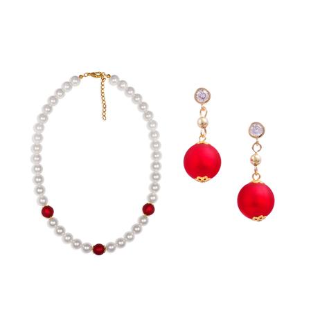 Комплект Giorno e Notte бело-красный (серьги, ожерелье)