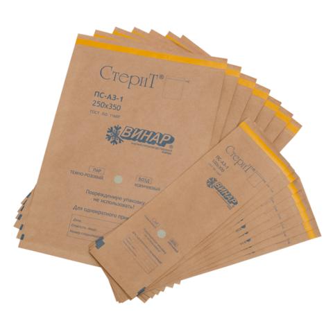 Крафт-пакеты коричневые 110*150 мм с индикатором (100 шт)