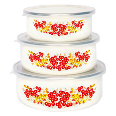 Набор 3 штуки (400 мл, 700 мл, 1000 мл) эмалированных салатников с пластиковыми крышками EM-00003A/51