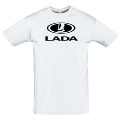 Футболка с черным принтом ЛАДА (LADA) белая