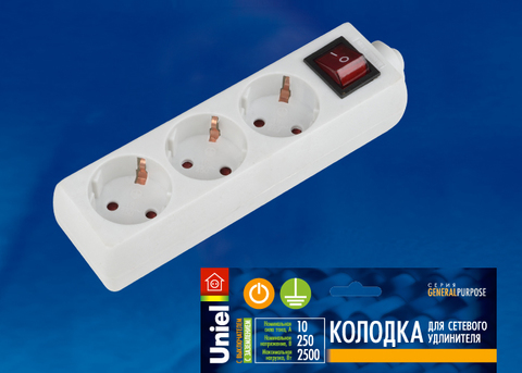 K-GCP3-10B WHITE Колодка для удлинителя Uniel, с выключателем. 3 гнезда, с/з, 10A, 2200Вт. Белый. ТМ Uniel