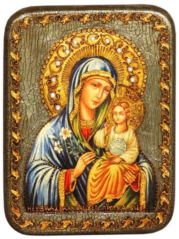 Инкрустированная икона Образ Божией Матери Неувядаемый Цвет 20х15см на натуральном дереве в подарочной коробке
