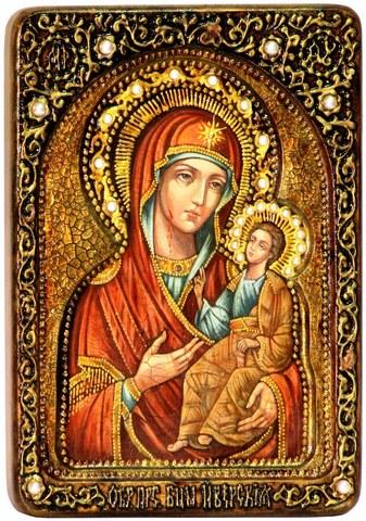 Инкрустированная живописная икона Образ Божией Матери Иверская 29х21см на натуральном кипарисе в подарочной коробке
