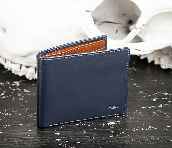 WL320-3 Классический кошелек для купюр и карт из синей кожи, «Moriz» фото 04
