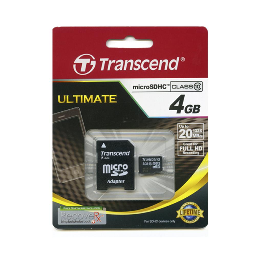 Transcend microSDHC 4GB Class 10 (Карта памяти микро 4ГБ SD HC 10 класса - подходит для смартфона и сотового телефона)