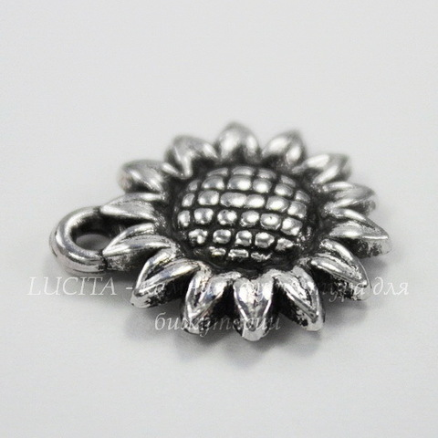 "Подвеска ""Подсолнух"" 19х16 мм (цвет - античное серебро)"