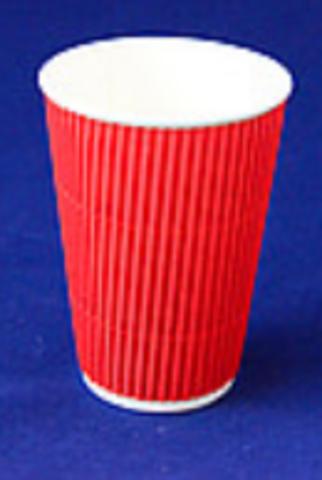 Стаканчики двойные бумажные цветные гофрированные 340 мл красные (15шт)